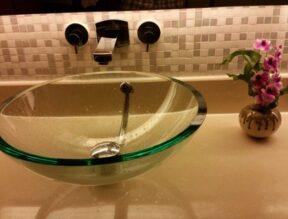 glass sink in bathroom