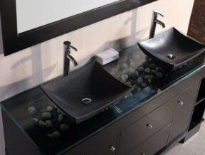 glass countertops in bathroom