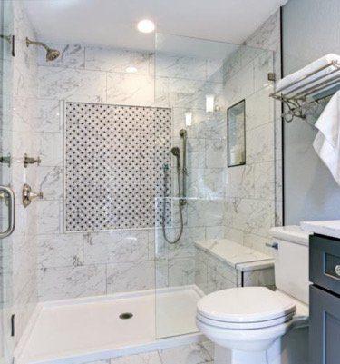 blue bathroom remodel
