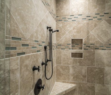 tiled shower in bathroom